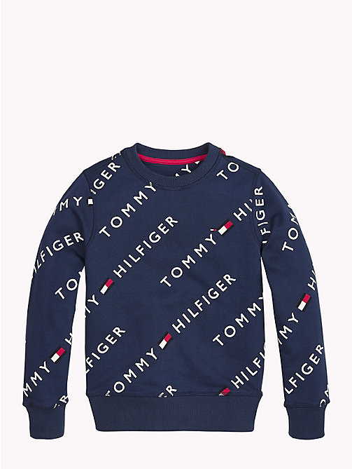 TOMMY HILFIGER Sports All-Over Logo Print Sweater - BLACK IRIS -  Girls - main image