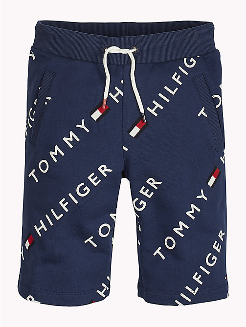 TOMMY HILFIGER Sports All-Over Logo Print Shorts - BLACK IRIS - TOMMY HILFIGER Sports Capsule - main image