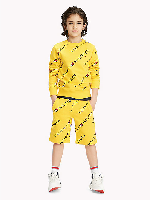TOMMY HILFIGER Sports All-Over Logo Print Shorts - SPECTRA YELLOW - TOMMY HILFIGER Sports Capsule - detail image 1