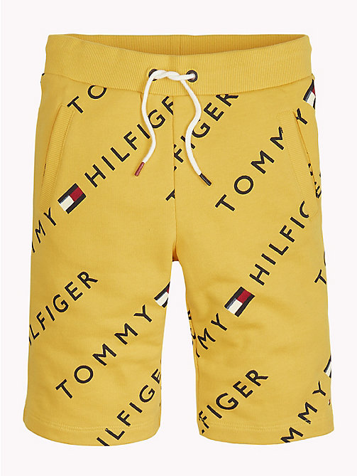 TOMMY HILFIGER Sports All-Over Logo Print Shorts - SPECTRA YELLOW - TOMMY HILFIGER Trousers, Shorts & Skirts - detail image 1