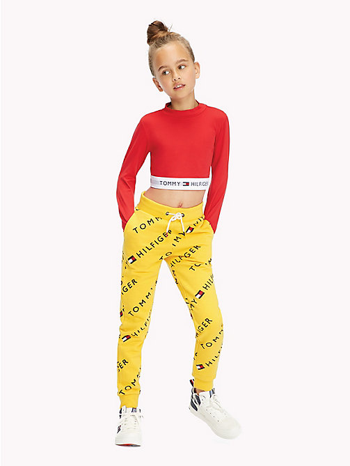 TOMMY HILFIGER Sports All-Over Logo Print Joggers - SPECTRA YELLOW - TOMMY HILFIGER Sports Capsule - detail image 1