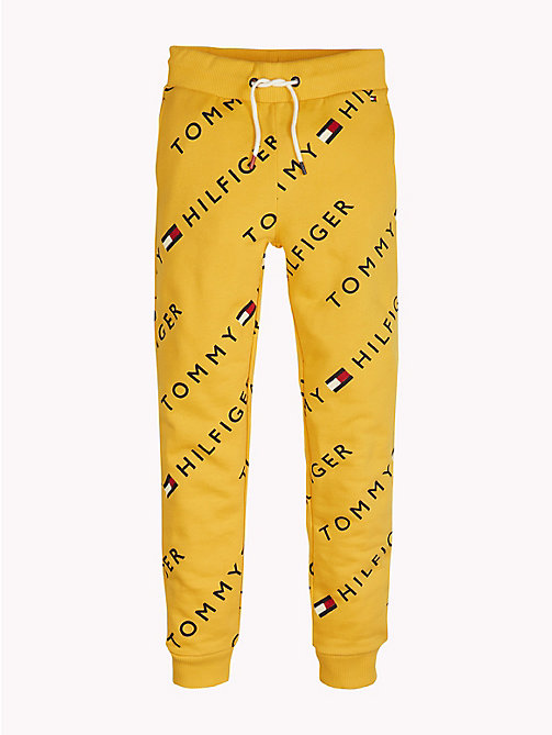TOMMY HILFIGER Sports All-Over Logo Print Joggers - SPECTRA YELLOW - TOMMY HILFIGER Sports Capsule - main image