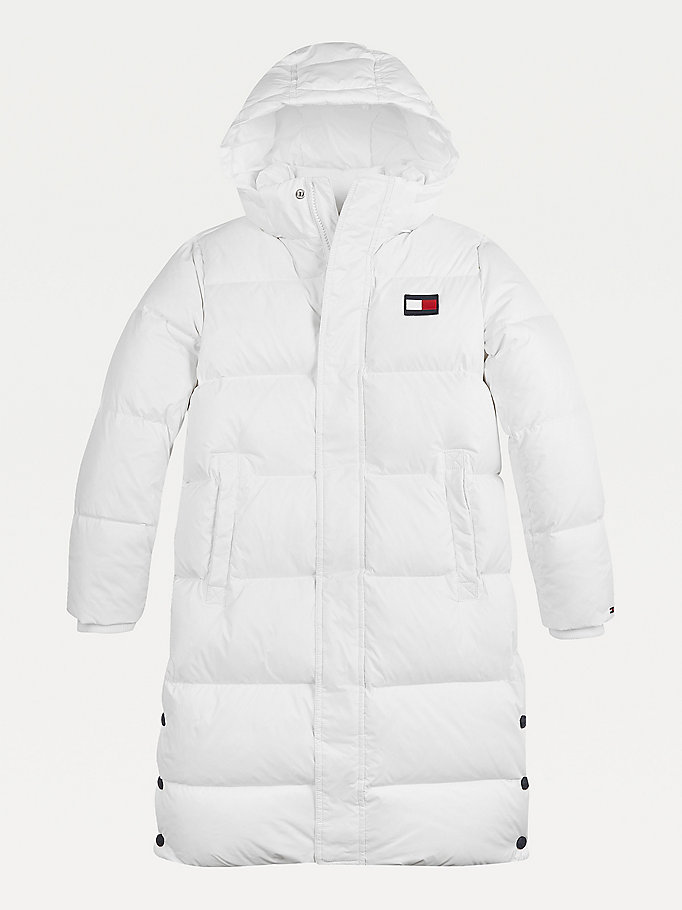 white oversized puffer parka for kids unisex tommy hilfiger