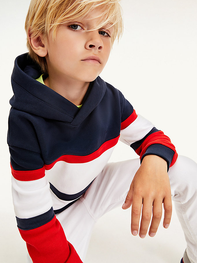 blue colour-blocked organic cotton hoody for kids unisex tommy hilfiger