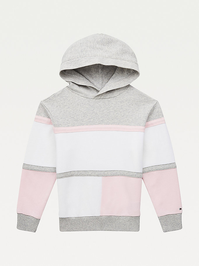 pink colour-blocked organic cotton hoody for kids unisex tommy hilfiger