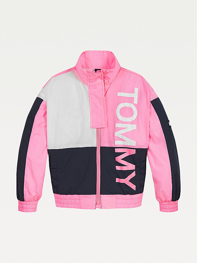 pink colour-blocked logo jacket for kids unisex tommy hilfiger