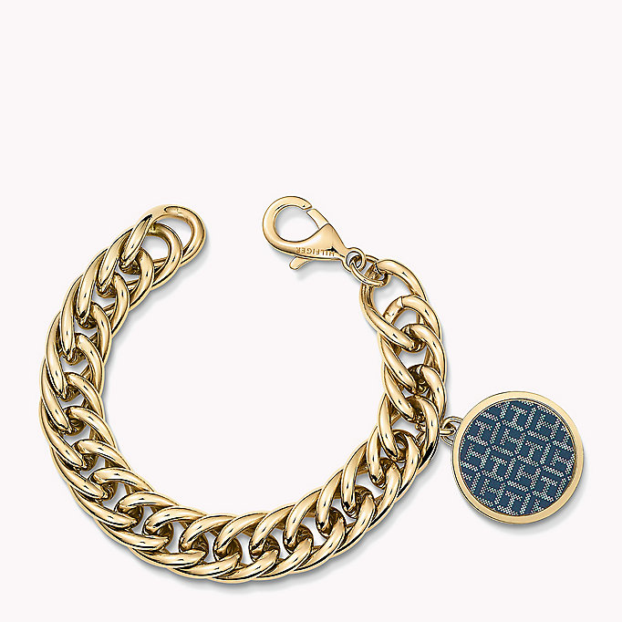 gold gold-plated charm bracelet for women tommy hilfiger