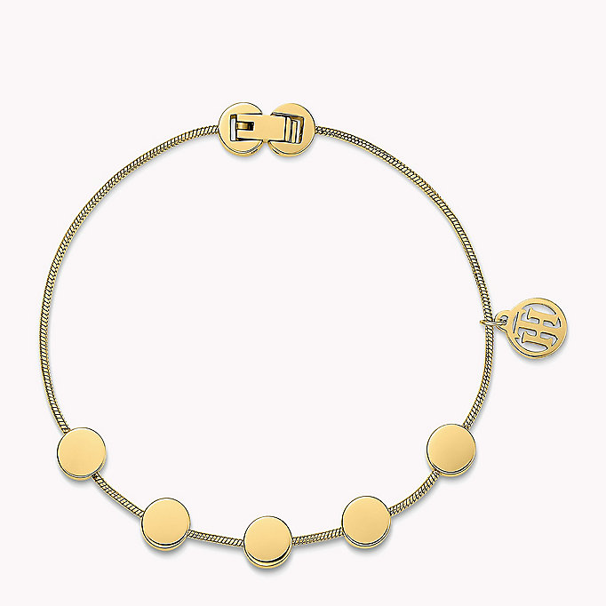 gold gold-plated multi-coin bracelet for women tommy hilfiger