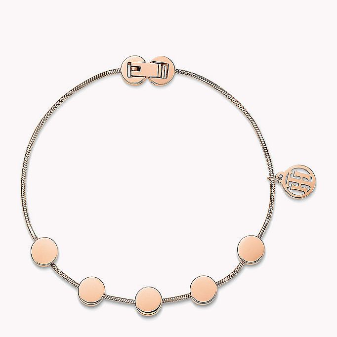 pink rose gold-plated multi-coin bracelet for women tommy hilfiger