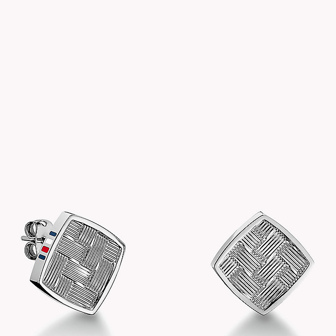 silver stainless steel stud earrings for women tommy hilfiger