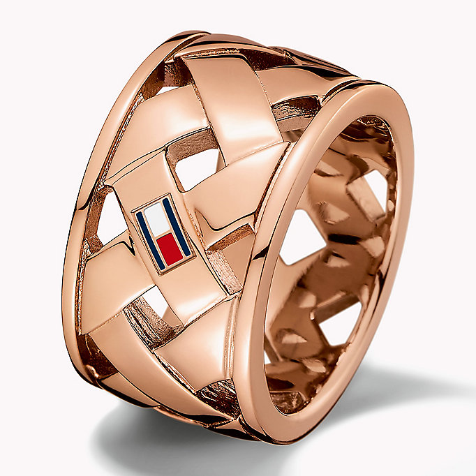 pink signature basket weave ring for women tommy hilfiger