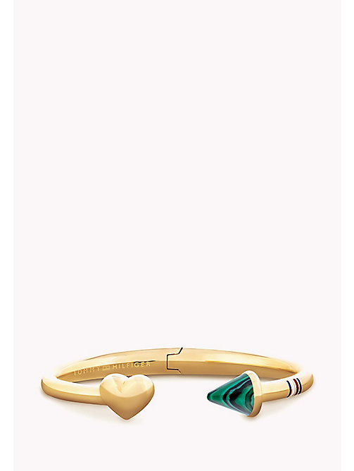 TOMMY HILFIGER Heart And Malachite Cuff - YELLOW GOLD - TOMMY HILFIGER Bags & Accessories - main image