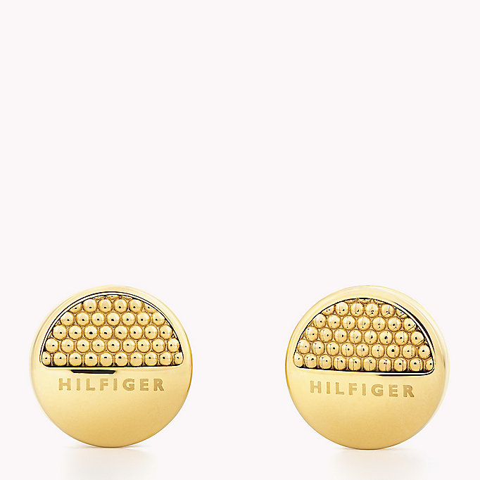 gold gold-plated logo earrings for women tommy hilfiger