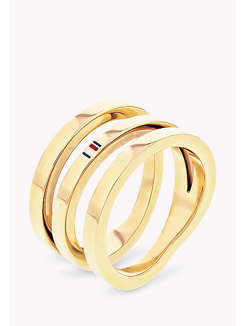 TOMMY HILFIGER Signature Cross-Over Spiral Ring - YELLOW GOLD - TOMMY HILFIGER Occasion wear - main image