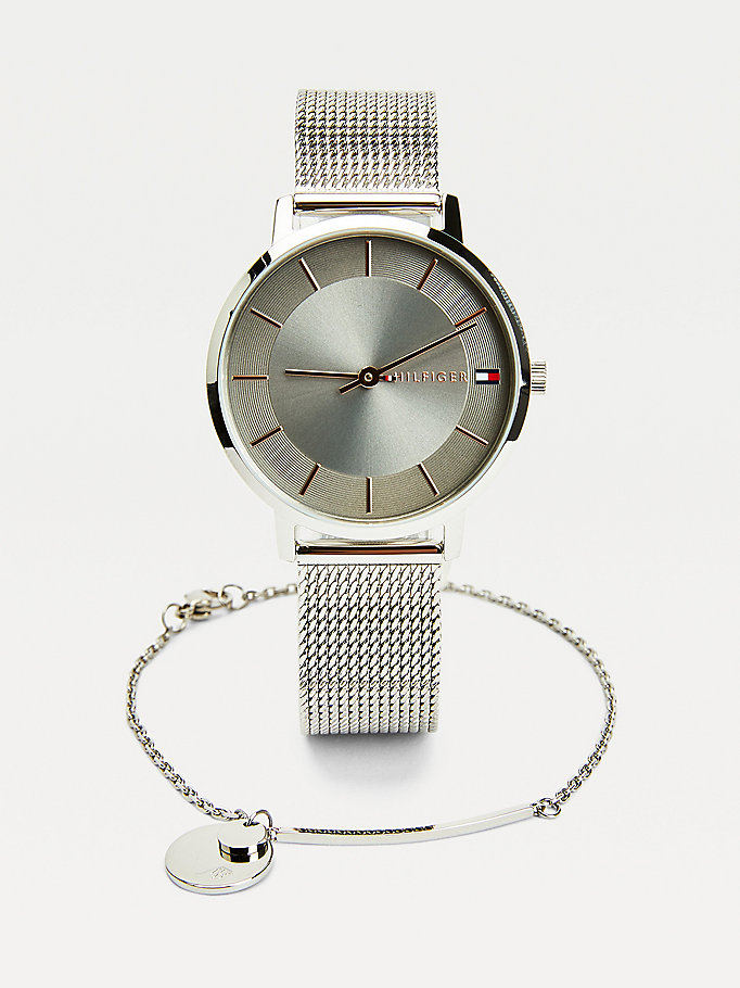 silver watch and bracelet gift set for women tommy hilfiger