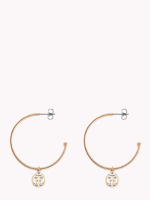 TOMMY HILFIGER Monogram Open Hoop Earrings - ROSE GOLD - TOMMY HILFIGER Earrings - main image