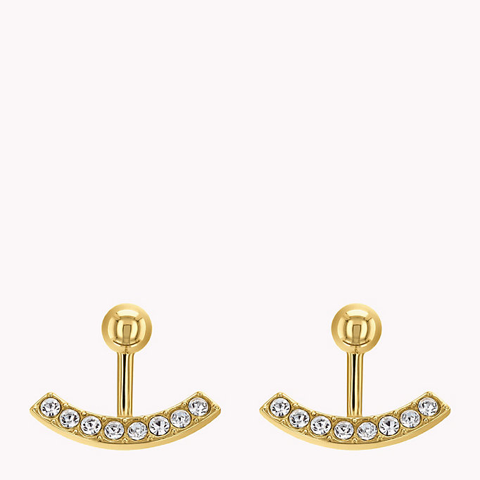 gold embellished ear jacket earrings for women tommy hilfiger