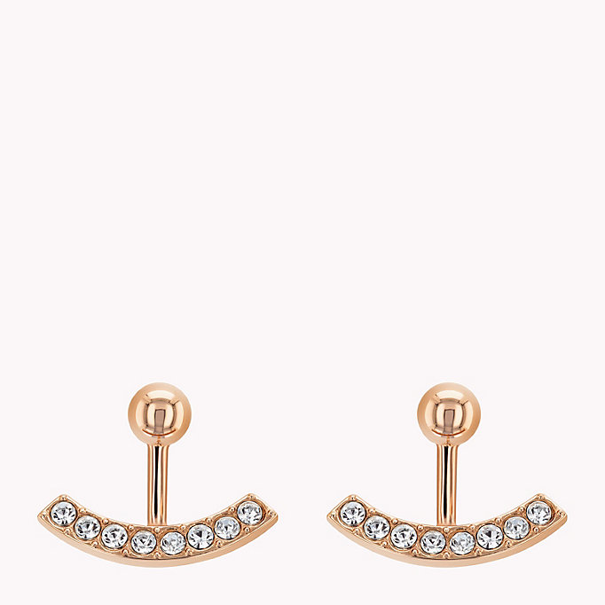 pink sparkle ear jacket earrings for women tommy hilfiger