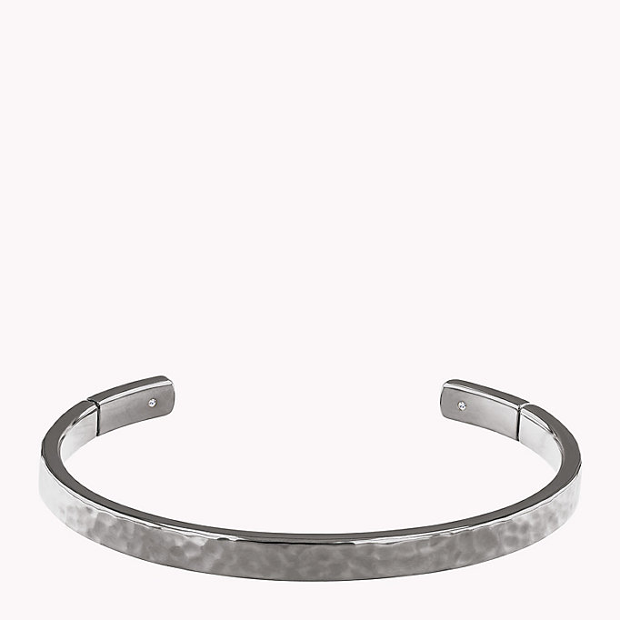 grey hammered metal cuff for women tommy hilfiger