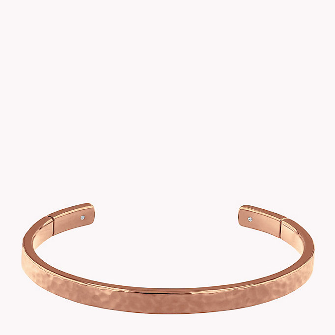 pink hammered metal cuff for women tommy hilfiger