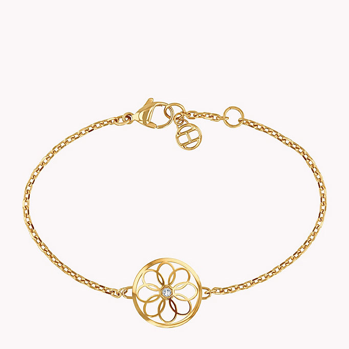 gold floral coin charm bracelet for women tommy hilfiger