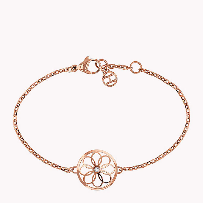 pink floral coin charm bracelet for women tommy hilfiger
