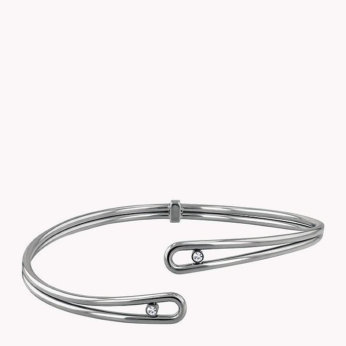grey crystal embellished cuff for women tommy hilfiger
