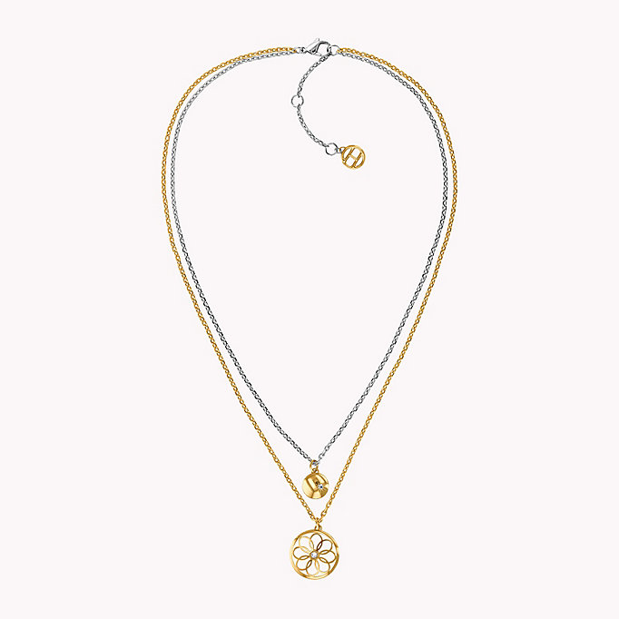 gold double layer charm necklace for women tommy hilfiger