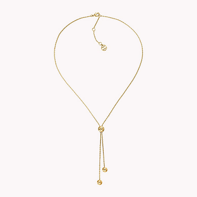 gold y-neck beaded necklace for women tommy hilfiger