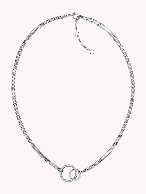 TOMMY HILFIGER Double Open Circle Necklace W/Crystals - STAINLESS STEEL - TOMMY HILFIGER Uhren & Schmuck - main image