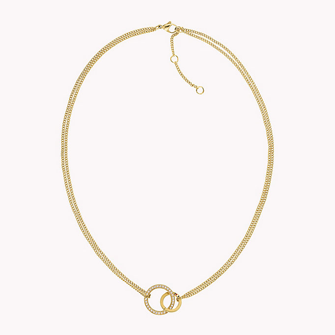 gold gold double open circle necklace for women tommy hilfiger