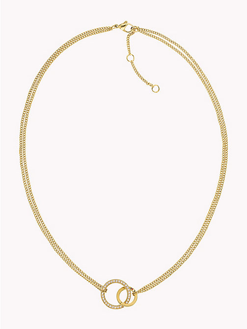 TOMMY HILFIGER Double Open Circle Necklace W/Crystals - GOLD PLATED - TOMMY HILFIGER Necklaces - main image