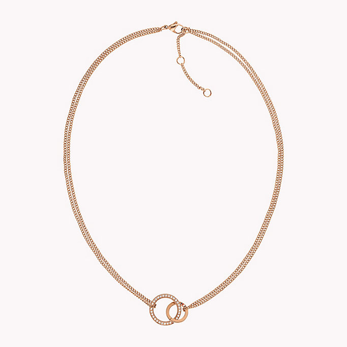 pink carnation gold linked circle crystal necklace for women tommy hilfiger
