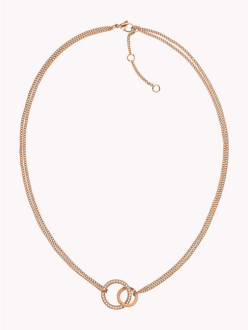 TOMMY HILFIGER Double Open Circle Necklace W/Crystals - CARNATION GOLD - TOMMY HILFIGER Necklaces - main image