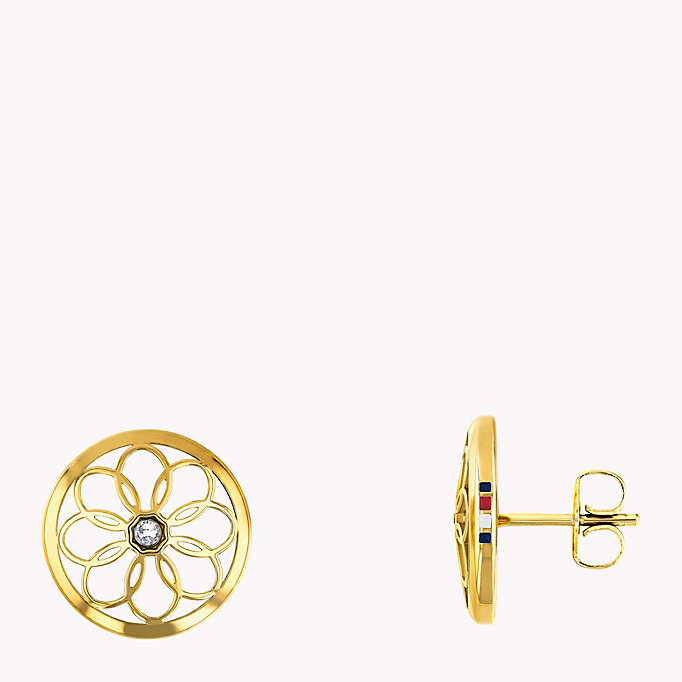 gold gold toned flower stud earrings for women tommy hilfiger