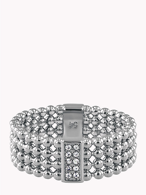 TOMMY HILFIGER Beaded Ring W/Crystals - STAINLESS STEEL - TOMMY HILFIGER Party Looks - main image