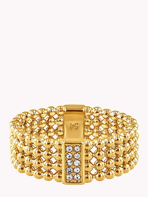 TOMMY HILFIGER Beaded Ring W/Crystals - GOLD PLATED - TOMMY HILFIGER Party Looks - main image