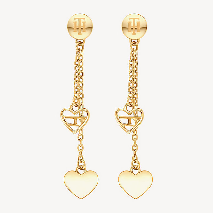 2a650b2a02d80 Gold-Plated Heart Dangle Earrings | CARNATION GOLD | Tommy Hilfiger