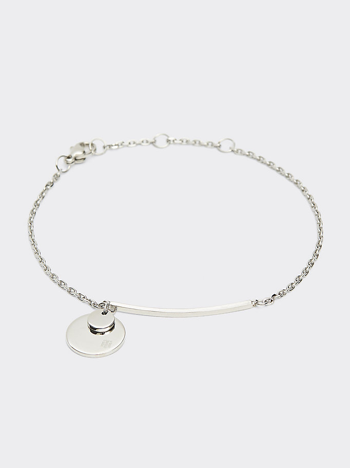 silver stainless steel disc bracelet for women tommy hilfiger