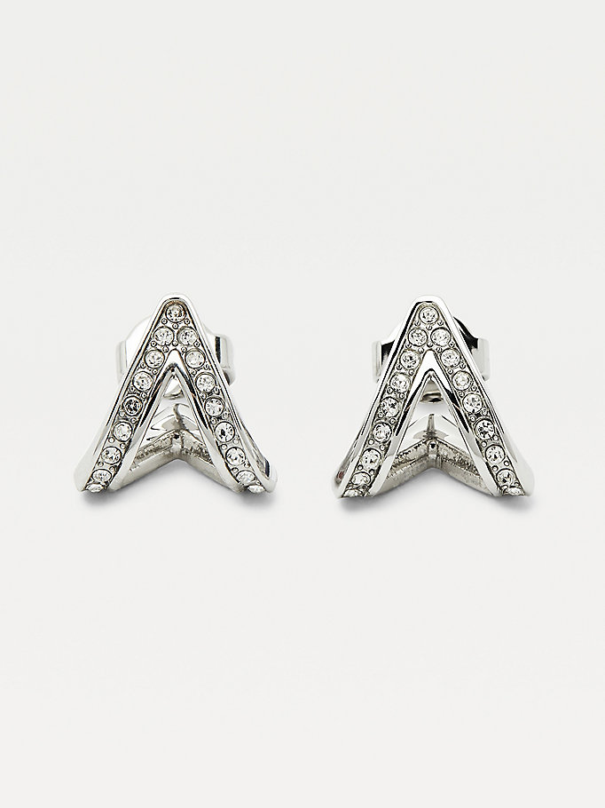 silver crystal v earrings for women tommy hilfiger