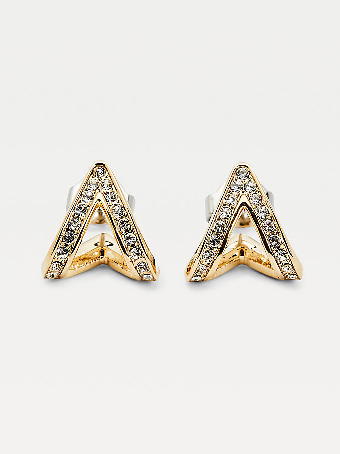 gold gold-plated crystal v earrings for women tommy hilfiger