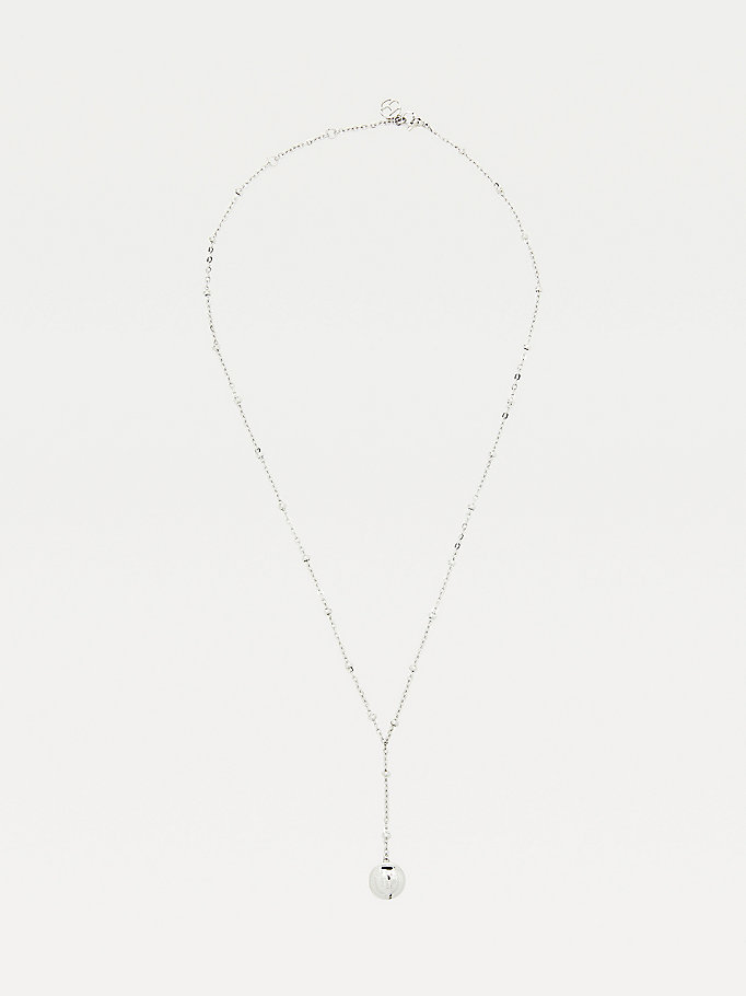 silver silver-tone drop bead necklace for women tommy hilfiger