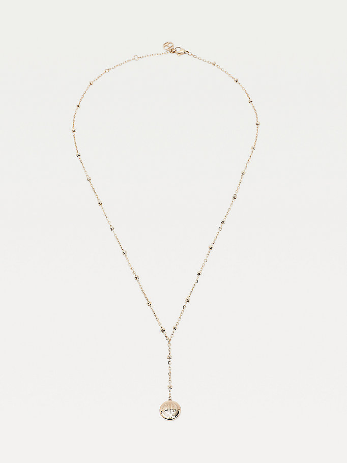 pink carnation gold-plated drop bead necklace for women tommy hilfiger