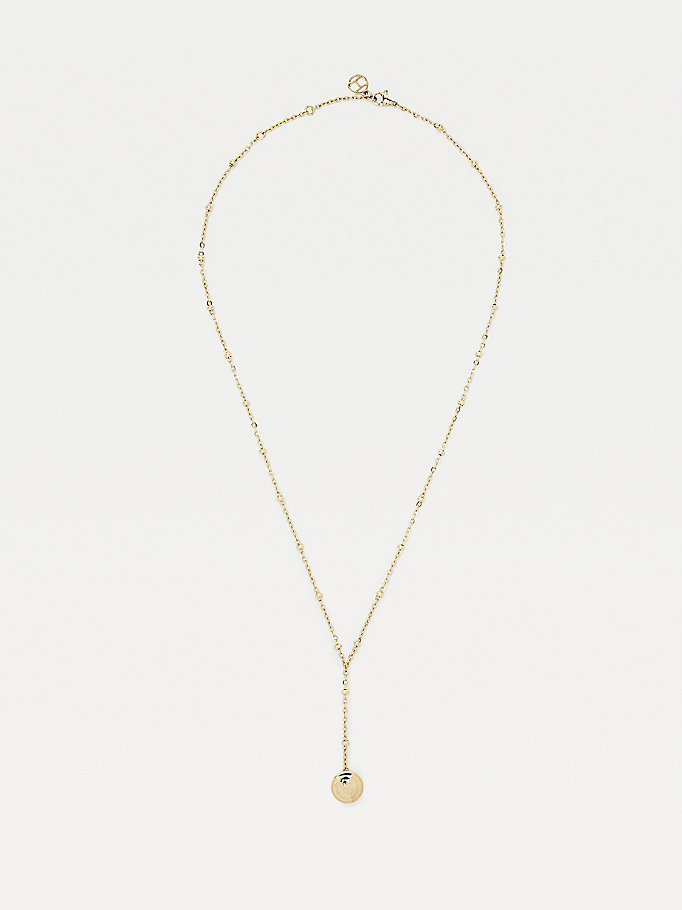gold gold-plated drop bead necklace for women tommy hilfiger