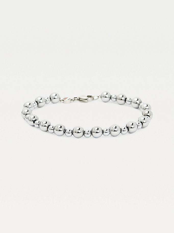 silver silver-tone bead chain bracelet for women tommy hilfiger