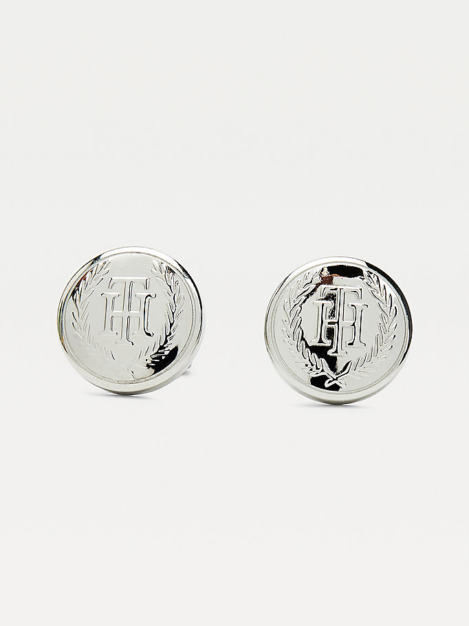 silver stainless steel monogram crest stud earrings for women tommy hilfiger