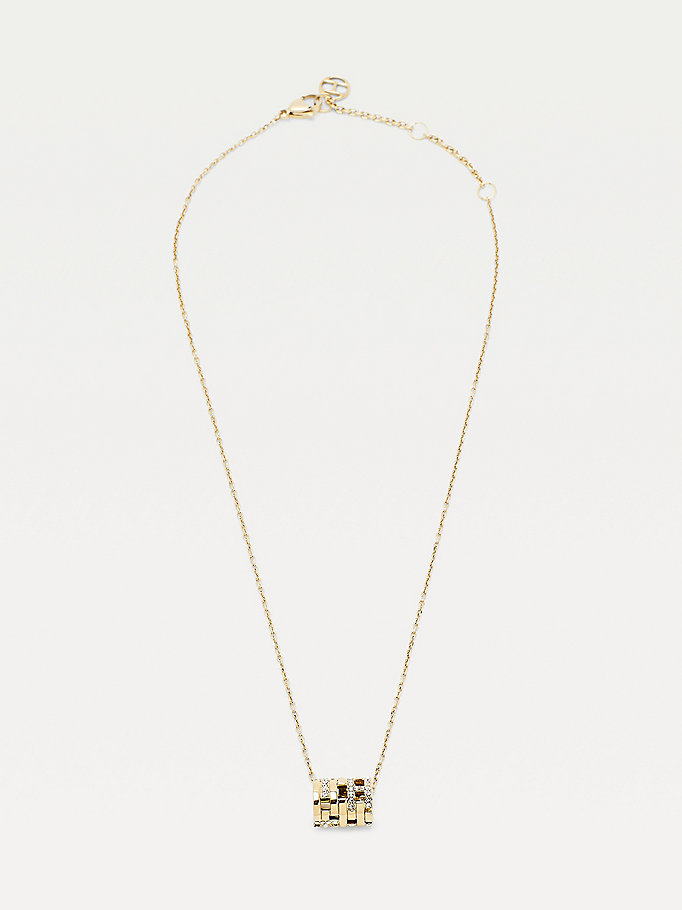 gold gold-plated monogram pendant crystal necklace for women tommy hilfiger