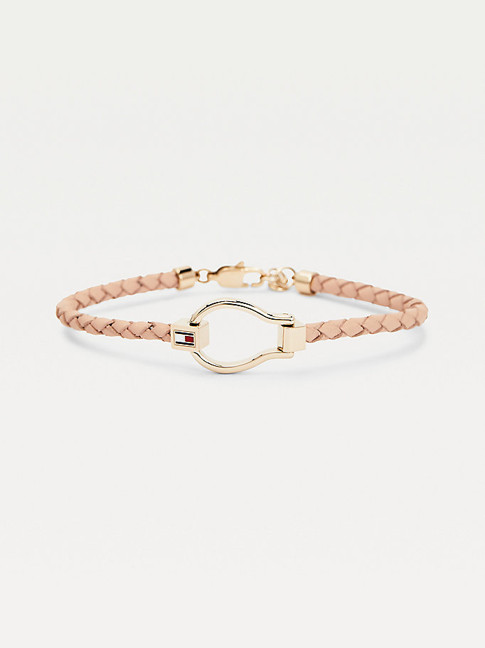 pink carnation gold-plated leather bracelet for women tommy hilfiger