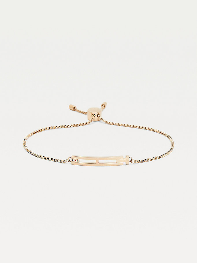 gold carnation gold-plated adjustable bracelet for women tommy hilfiger