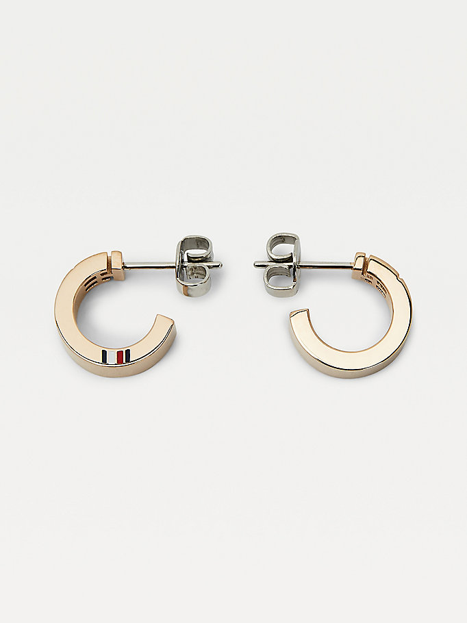 gold carnation gold-plated monogram hoop earrings for women tommy hilfiger
